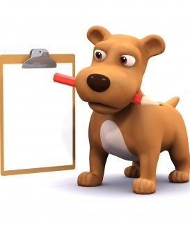 3d Dog has a pencil and clipboard
